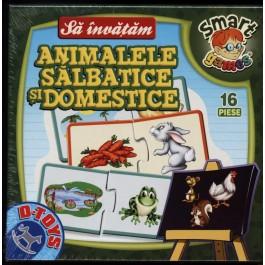 Sa invatam (m) animale salbatice - domestice  - puzzle